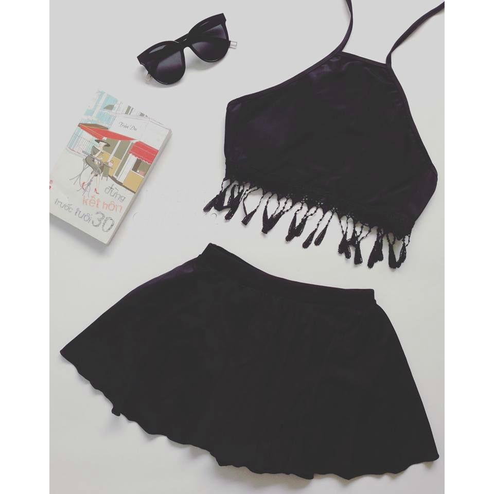 Bikini 2 mảnh yếm đen tua rua ( Kèm ảnh khách)   WebRaoVat