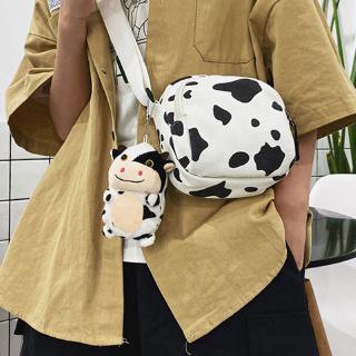 Túi xách đeo chéo họa tiết bò sữa hoạt hình kiểu dáng đáng yêu cho nữ