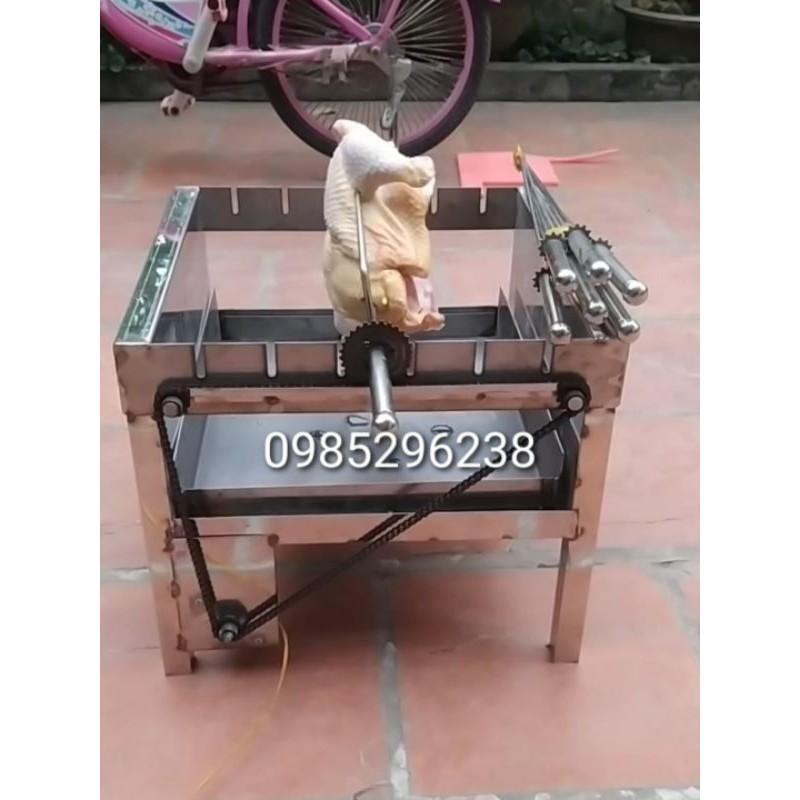 Máy nướng thịt chả quay gà vịt tự động bằng inox 6 xiên (6 xiên đơn + 1 xiên 3) - Bếp nướng than hoa