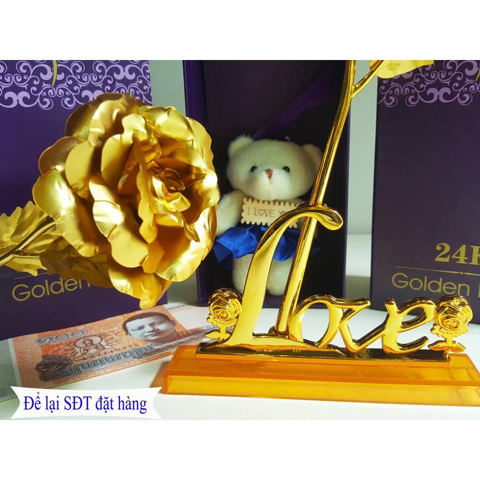 Hoa Hồng Mạ Vàng 24k Sang Chảnh 8 món