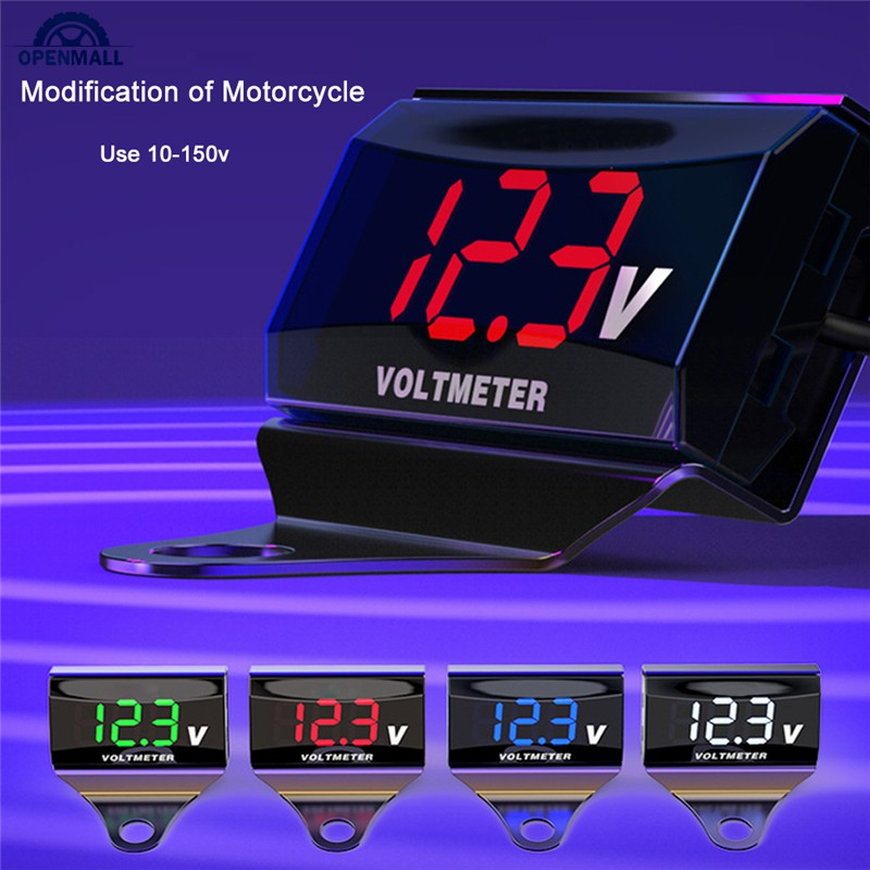 OM 12-150V Motorcycle LED Display Digital Voltmeter Scooter Car Voltage Bracket Gauge Panel Meter