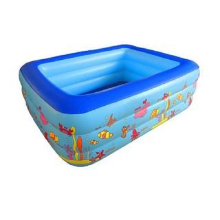 [Shop Chuyên Sỉ] Bể phao bơi 3 tầng 1m8x 1m4x60 kèm bơm điện có đáy chống trơn trượt