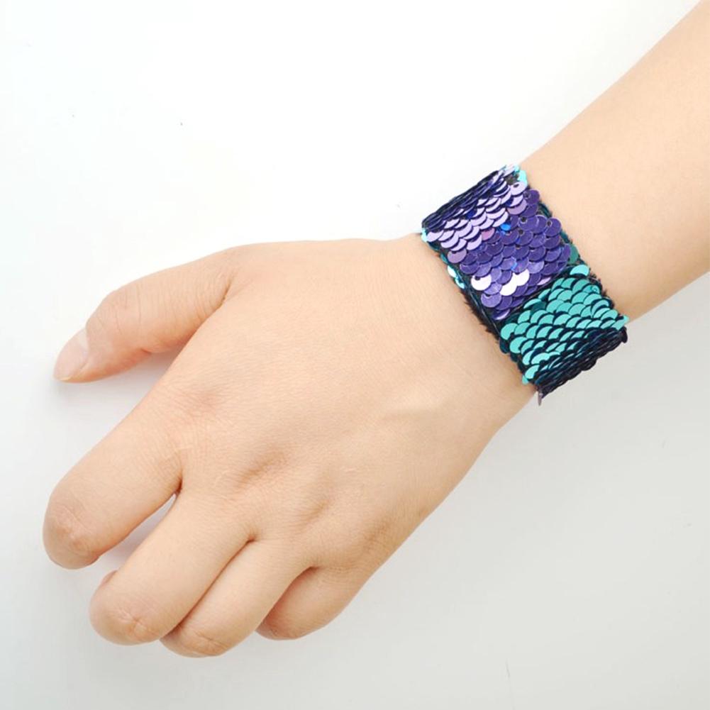 12 PCs Round Jewelry Unisex Sequins Two-tone Charm Slap Bracelets Gift Clap Ring Wristband Wax Line Fashion Cute