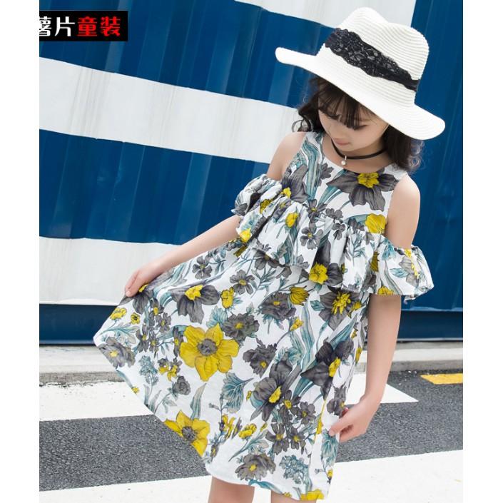 Váy bé gái hoa lá khoét tay kiểu dáng mát mẻ chất bền đẹp