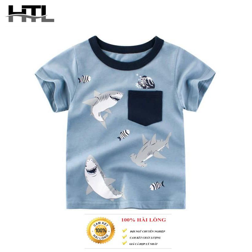 Áo phông cho bé mẫu cá mập xám