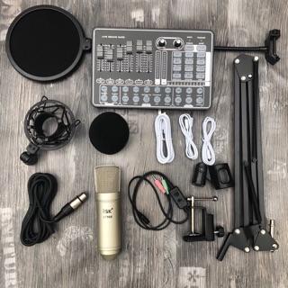 Bộ livestream sound card h9 mic isk AT100 chính hãng đi kèm chân màng dây livestream MA2- bộ mic thu âm và karaoke