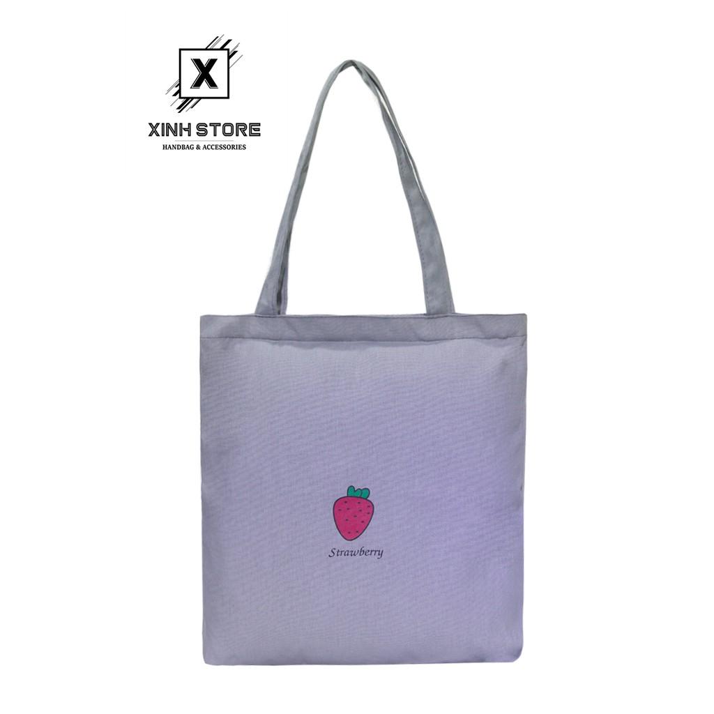 Túi Vải Đeo Vai Tote Bag Dâu Tím XinhStore