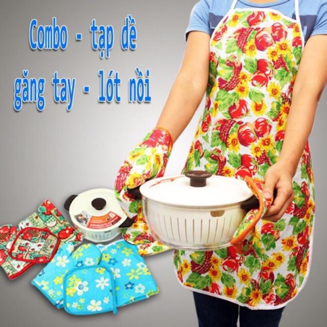 Tạp dề + găng tay + nhắc nồi cho nhà bếp - 2891720 , 475216149 , 322_475216149 , 50000 , Tap-de-gang-tay-nhac-noi-cho-nha-bep-322_475216149 , shopee.vn , Tạp dề + găng tay + nhắc nồi cho nhà bếp