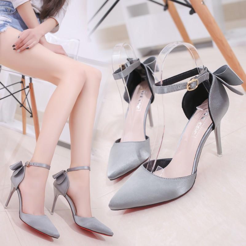 (FORM RỘNG) Giày cao gót/ Giày nữ, họa tiết hình nơ, quai cài, cao gót, gót nhỏ, màu hồng, phong cách Hàn Quốc