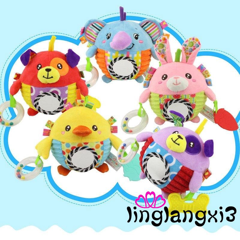 IVV-Newborn Bed Hanging Plush Rattle Teether Ring Paper Handbell Funny Toys