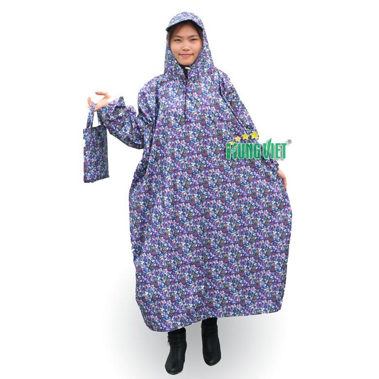 Áo mưa bít hoa vải siêu nhẹ Hưng Việt