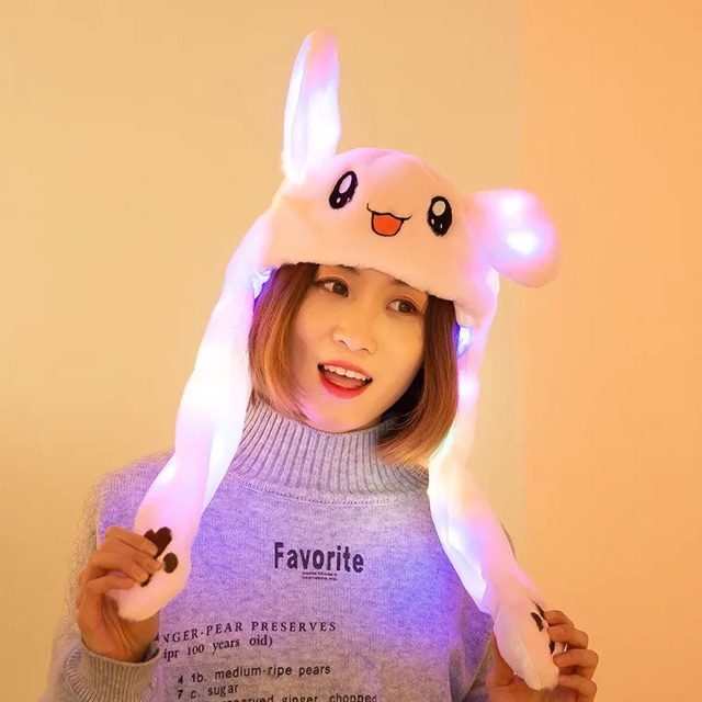 Mũ tai thỏ có đèn tai bóp vểnh vểnh