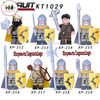 Minifigure Lính trung cổ Quân đội hoàn gia kèm thương kích khiên giáp các loại KT1029