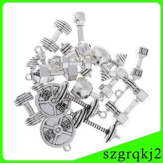 20x Alloy Fitness Equipment Pendants Charms Findings for Fitness Enthusiasts