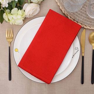 Khăn ăn bằng vải lanh mềm màu đỏ trơn có thể giặt sạch dùng trang trí bàn tiệc cưới / khách sạn - hình 4