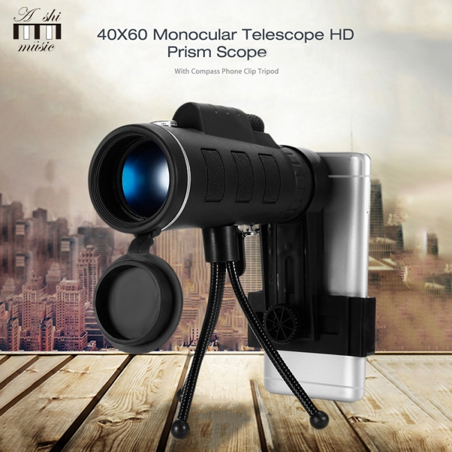 40X60 BAK4 Monocular Telescope HD Mini Monocular for Outdoor Hunting Camping with Phone Clip