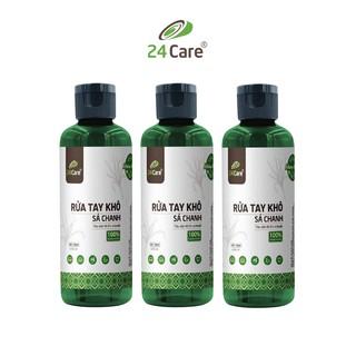 [KHÁNG KHUẨN] Bộ 3 Nước rửa tay khô tinh dầu Sả Chanh 24Care 100ML không cần rửa lại với nước, diệt khuẩn 99,9%