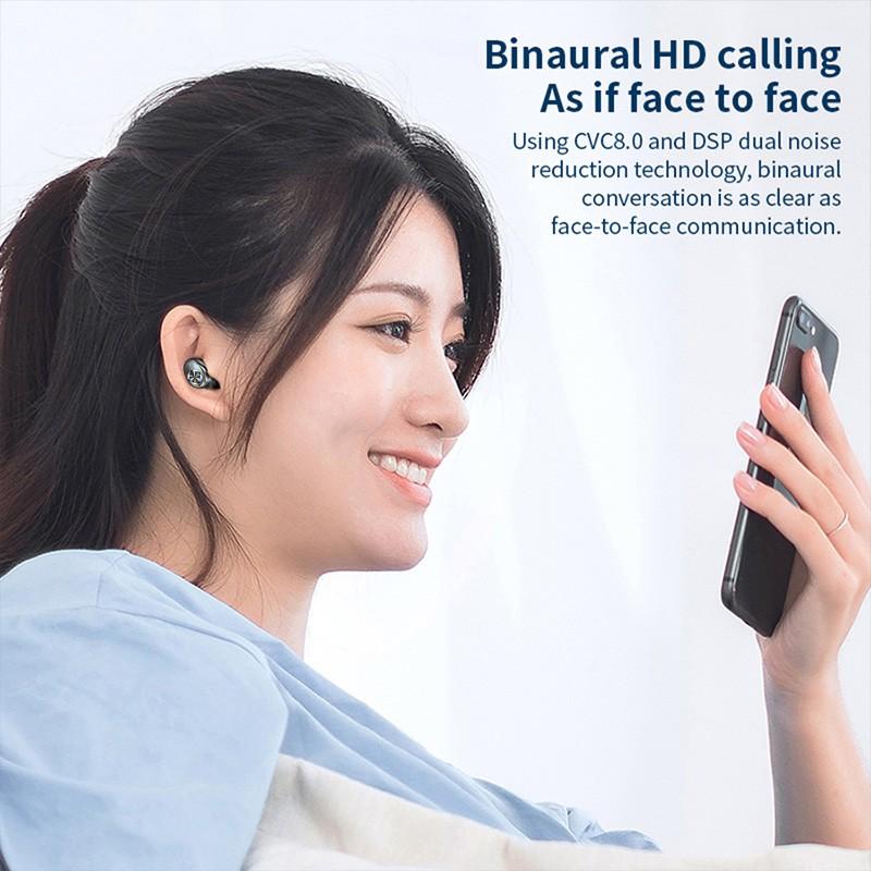 SUNHAI Tai nghe Bluetooth không dây F9 TWS 5.1 âm thanh HIFI mini hỗ trợ cuộc gọi iOS / Android HD