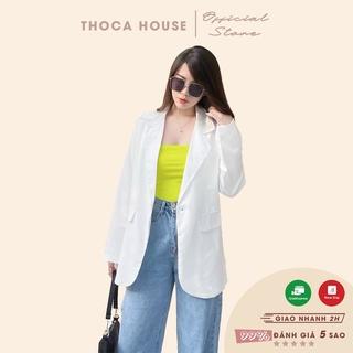 Áo blazer khoác vest trắng túi nấp thiết kế dây kéo tà sau THOCA HOUSE công sở thanh lịch, sang trọng thumbnail