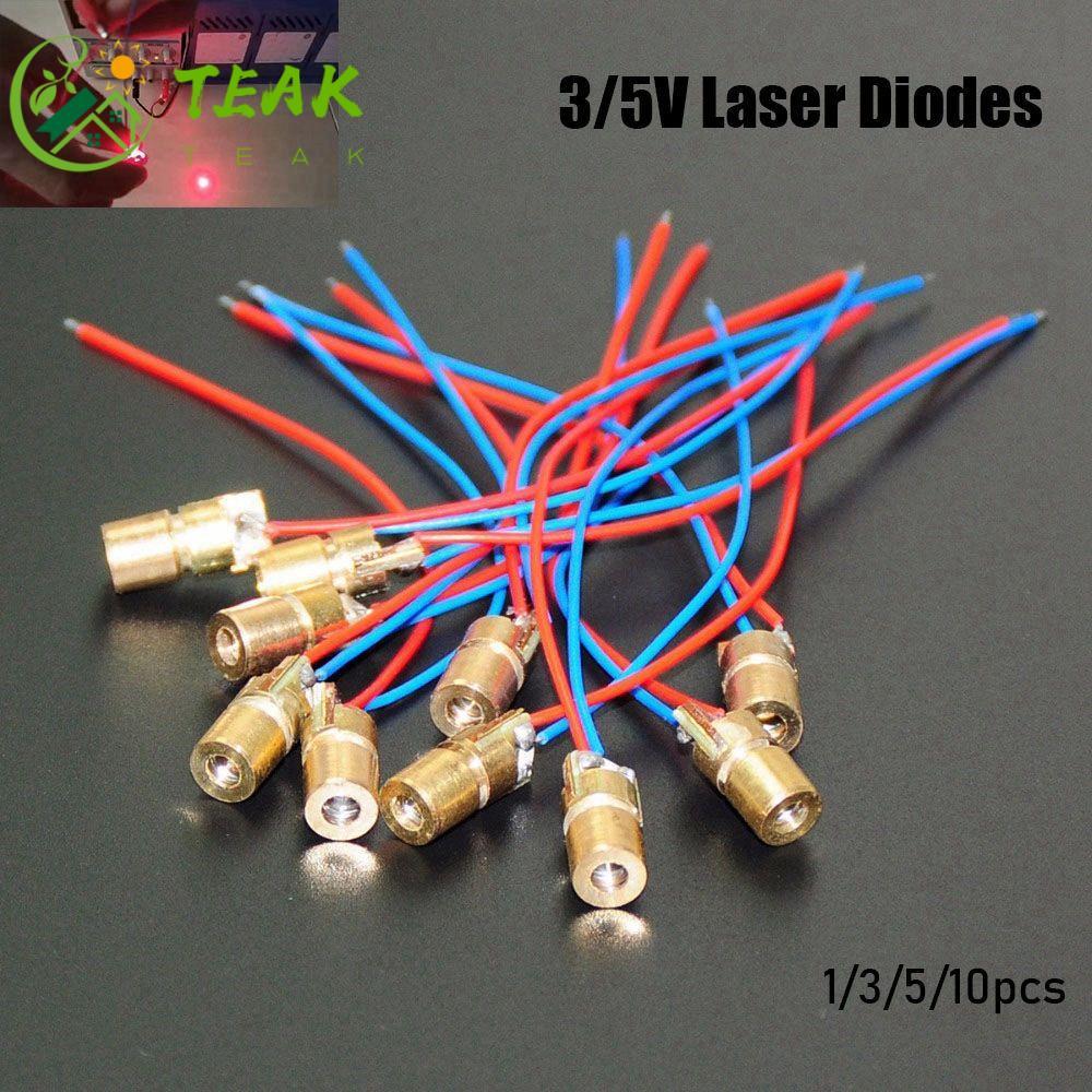 TEAK 1/3/5/10pcs High quality Adjustable Lasers Mini 650nm 6mm 3/5V Laser diodes Red Sight Hot sale 5 million watt Copper Head Dot Diode Module