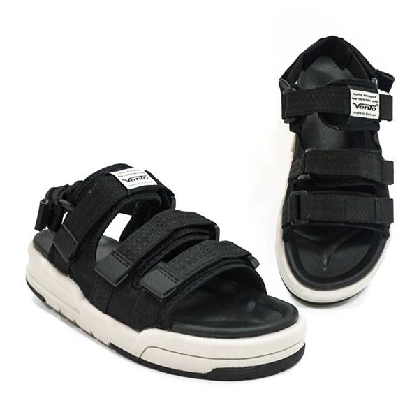 Giày Sandal 2 Quai Ngang Vento 1001 Đen Tro