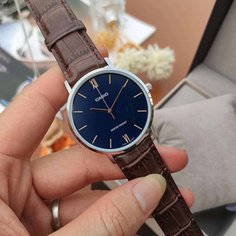 Đồng hồ nam Casio MTP-VT01L-2B dây da chính hãng