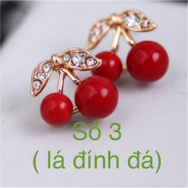 [Mã FASTT2 hoàn 10K đơn 50K] Bông tai trái cây cherry, 2 kiểu, khuyên tai hoa quả A2009