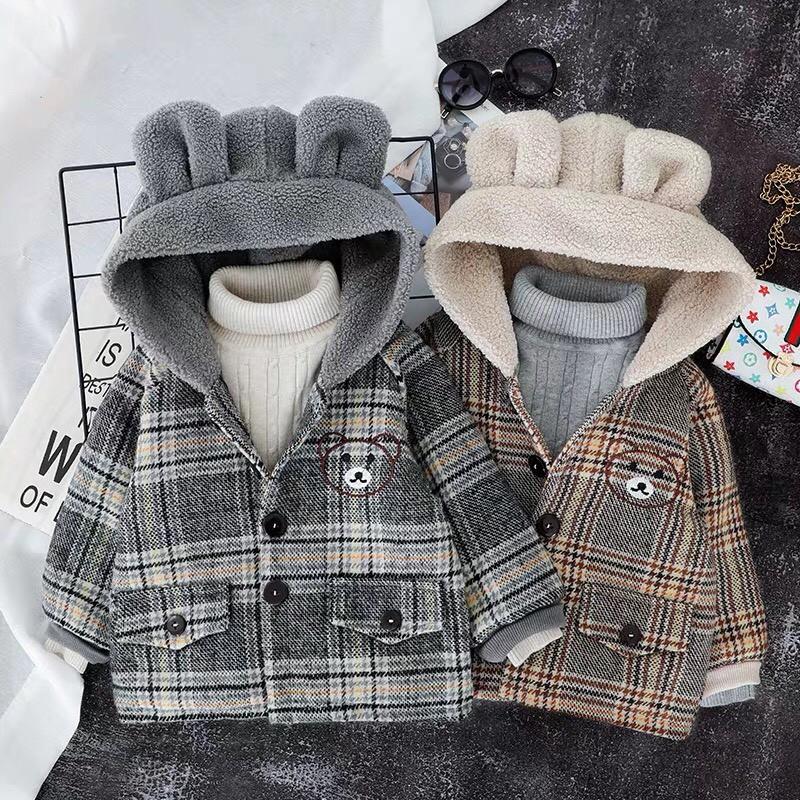 Áo khoác dạ kẻ mũ tai gấu chất đẹp QATE411 cho bé trai và bé gái