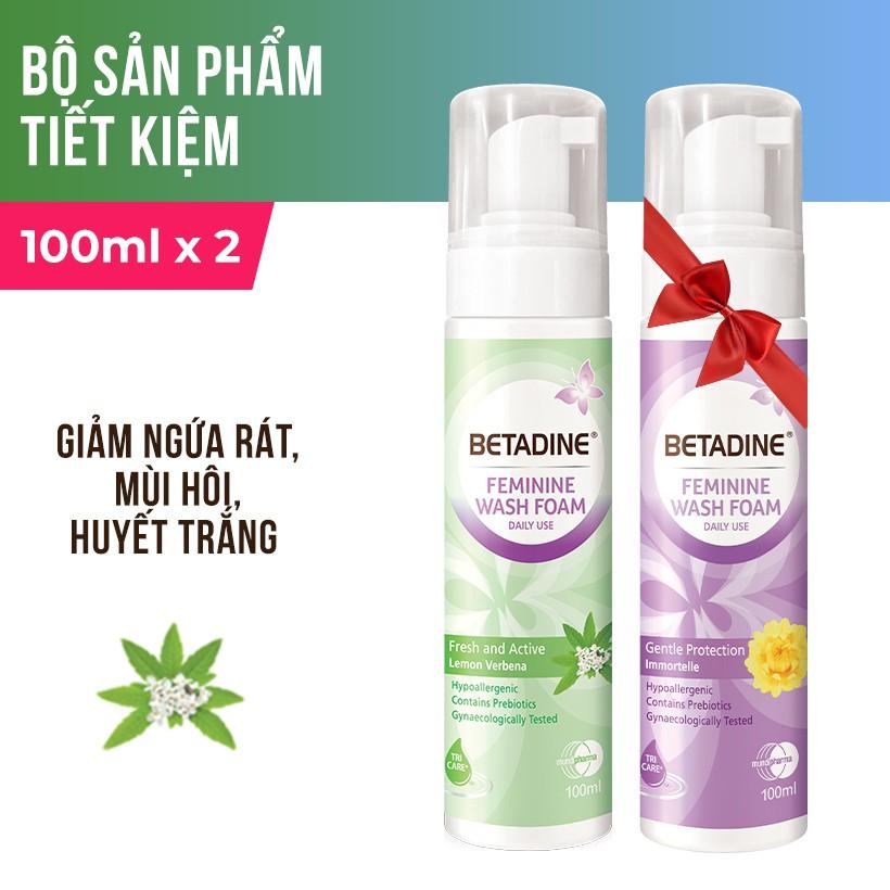 Hình ảnh [GIẢM CÒN 99K - NHẬP MUNDI30H] Bộ 2 bọt vệ sinh phụ nữ Betadine (Tím và Xanh) 100ml/chai-0