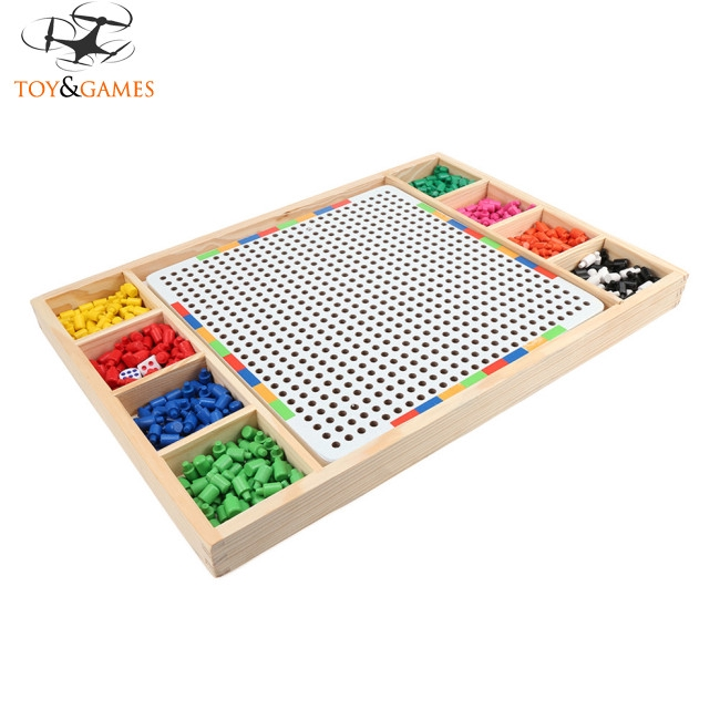 Children Mushroom Nail Combination Spelling Board Wooden Boxed Puzzle Education Toy
