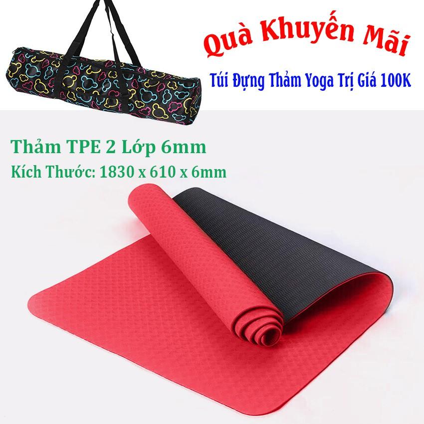 [Free Ship] Thảm Yoga 2 Lớp TPE (Tặng Kèm Túi + Dây Buộc) - Đỏ