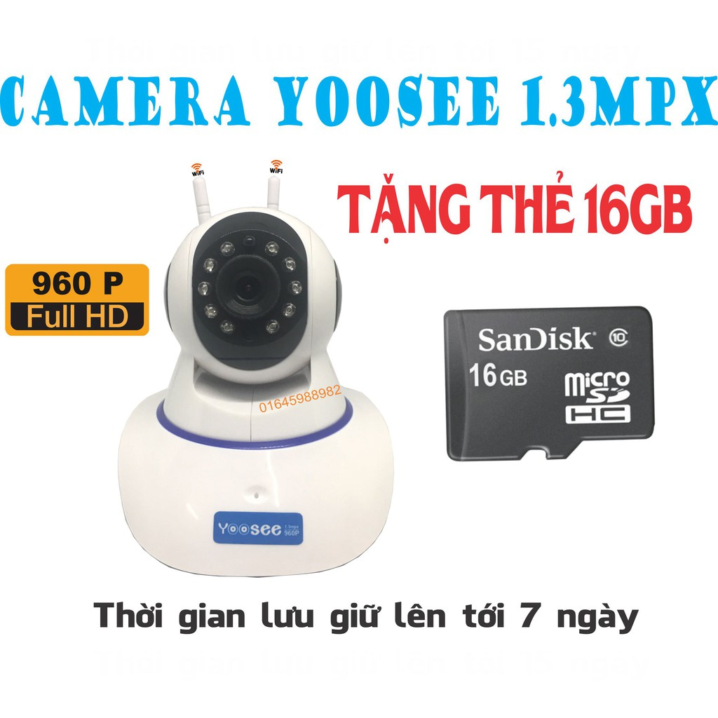 [COMBO] Camera yoosee 960p tặng kèm thẻ 16gb