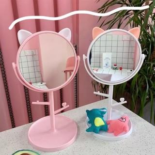Gương để bàn tròn cho bé gái- gương tròn để bàn có móc treo xinh xắn cho bé