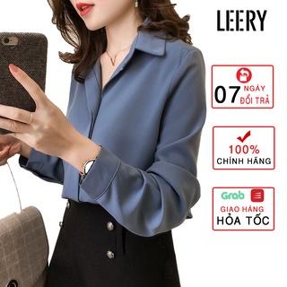 Áo sơ mi nữ công sở dài tay kiểu Hàn Quốc form rộng chất lụa đẹp cao cấp màu Trắng Đen Xanh Be LEERY SM-01 thumbnail