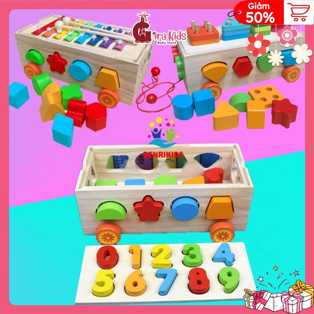 đồ chơi cho bé bằng gỗ💖 FREESHIP 💖 Đồ Chơi Gỗ, Xe Kéo Thả Hình Khối Màu Sắc Kết Hợp Số