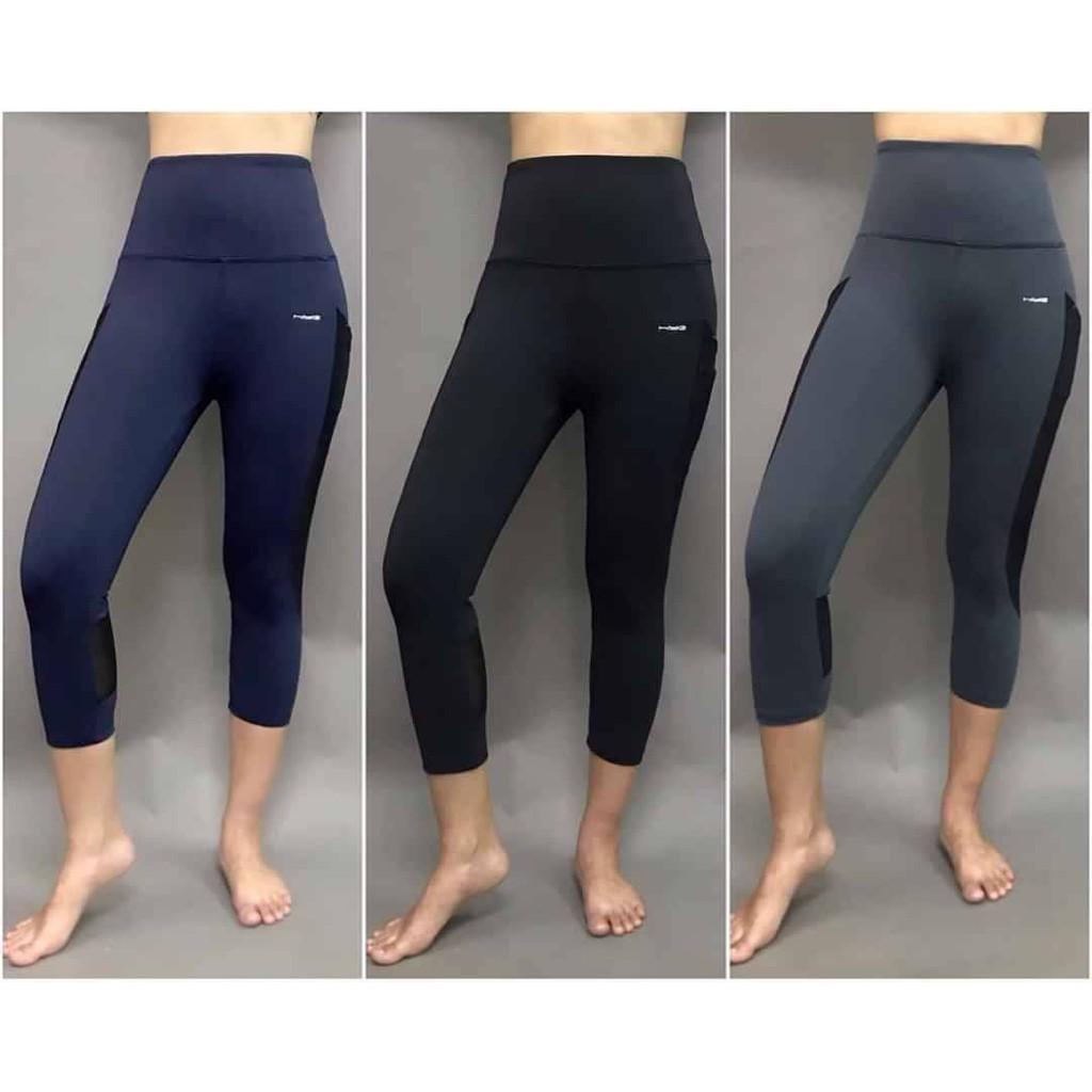 Quần tập gym, yoga, thể thao nữ, lửng phối lưới, cạp cao, nâng mông HIYE - 3/4F018