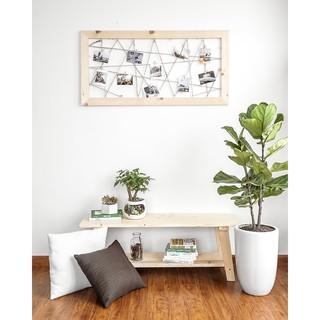 Khung ảnh treo tường dạng lưới bằng gỗ thông M2pi/ Giá treo ảnh tặng kèm kẹp gỗ Decor trang trí nhà cửa H11