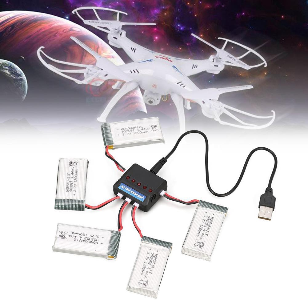 3.7V 1200mAh 5 Battery 5 In 1 USB Charger For Syma X5C X5C X5SC X5SW Drone