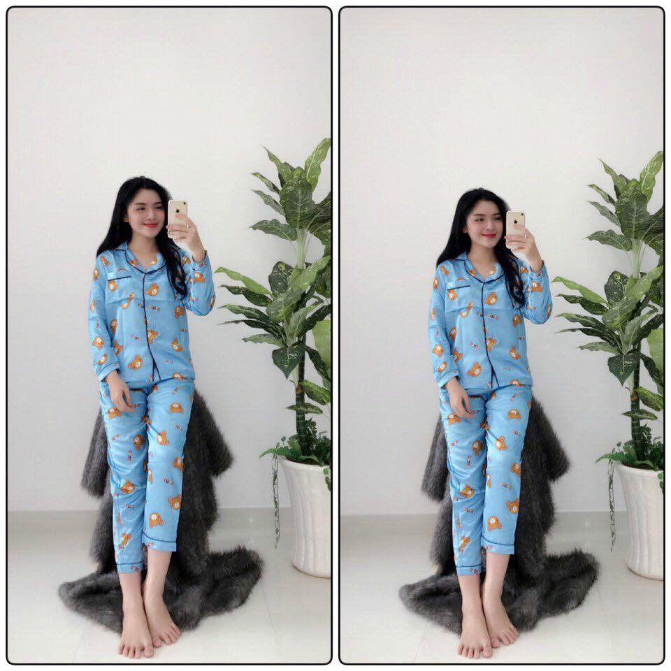 Set Pijama Dài Tay Kate Nữ 🌸 Đồ bộ ngủ áo sơ mi thun dài tay quần dài pizama hoạt hình ulzzang mặc ở nhà SIÊU HOT 🌸