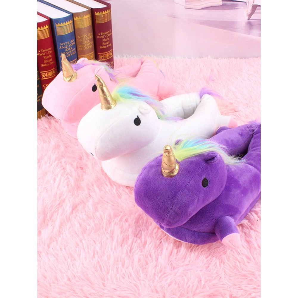 2017 winter new unicorn bag with thick cotton slippers femal