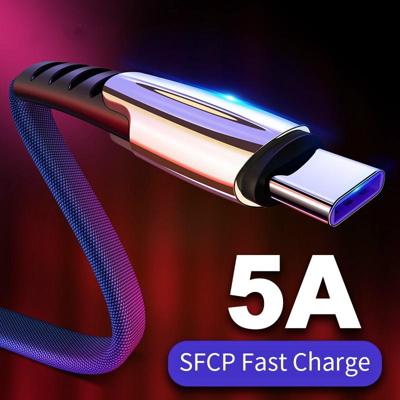 Cáp sạc nhanh 5A giao diện micro USB/Type-C/Lightning