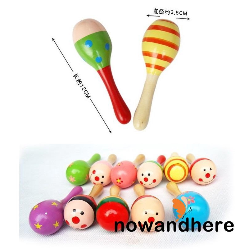 A..-Small Wooden Maracas Baby Kids Child Musical Instrument Rattle Shaker Party