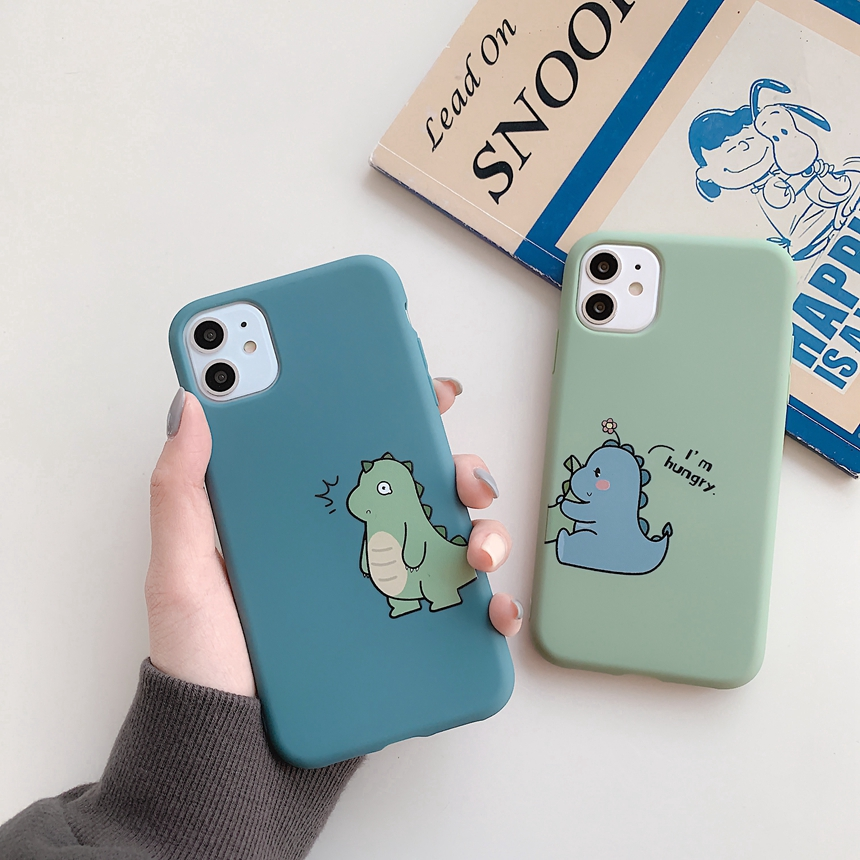 Ốp điện thoại mềm nhám hoạt hình khủng long nhỏ nhắn xinh xắn cho iphone Se 2020 11 Pro Max 8 6 7 6s Plus X Xs Max XR