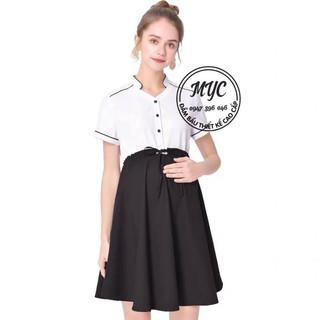 MYC 1319 Váy bầy đen phối trắng buộc bụng thumbnail