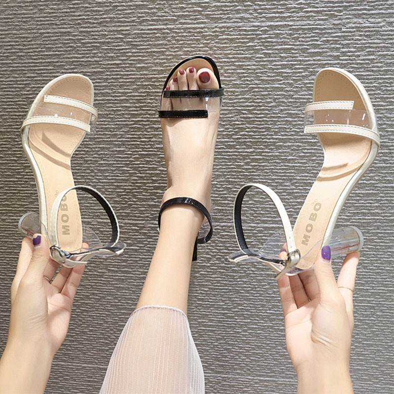 One-button buckle with thick and open toe transparent sandals female water wafer