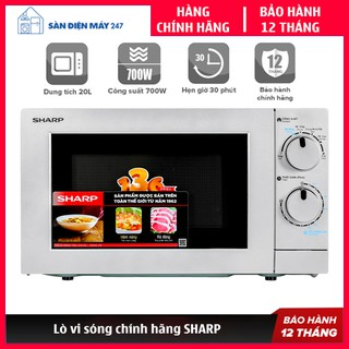 Lò vi sóng Sharp - Chính hãng - Bảo hành 12 tháng | Lò vi sóng cơ 20 Lít | Nút vặn có tiếng Việt