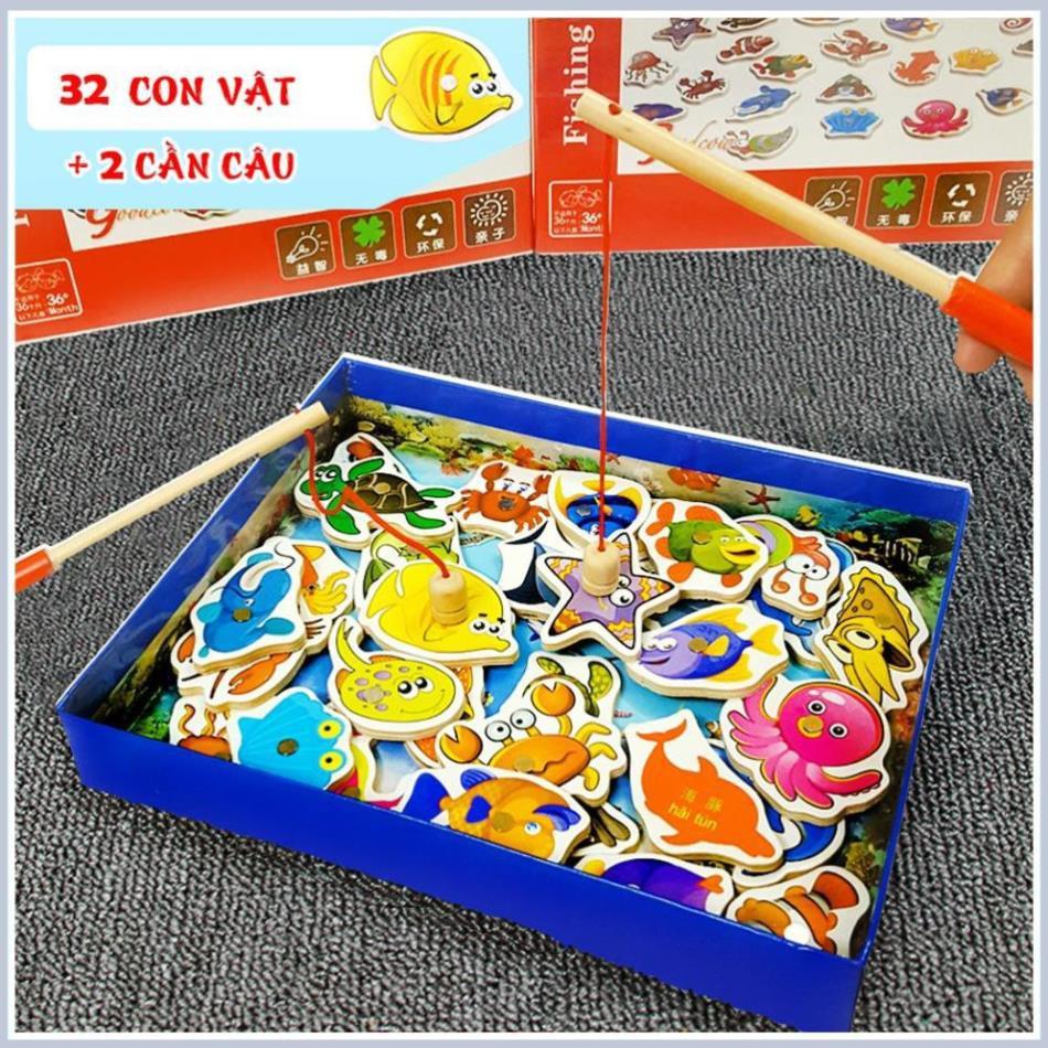 Bộ đồ chơi Câu cá nam châm gỗ (34 chi tiết) an toàn cho bé
