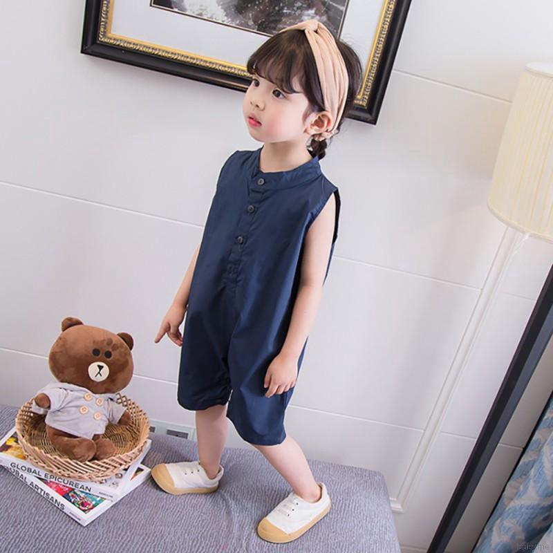 Bộ áo liền quần cộc tay cổ tròn thời trang cho bé gái