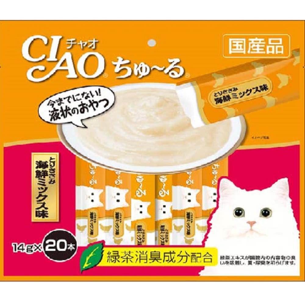Ciao Churu - Bánh thưởng dạng sốt mịn cho mèo vị gà và hải sản ( 20 tuýt )