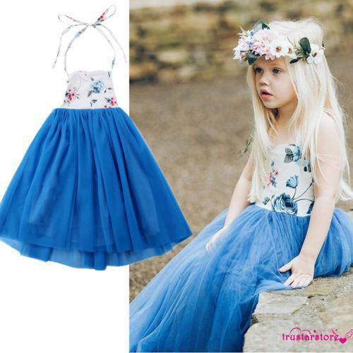 Đầm yếm xòe họa tiết hoa xinh xắn cho bé gái